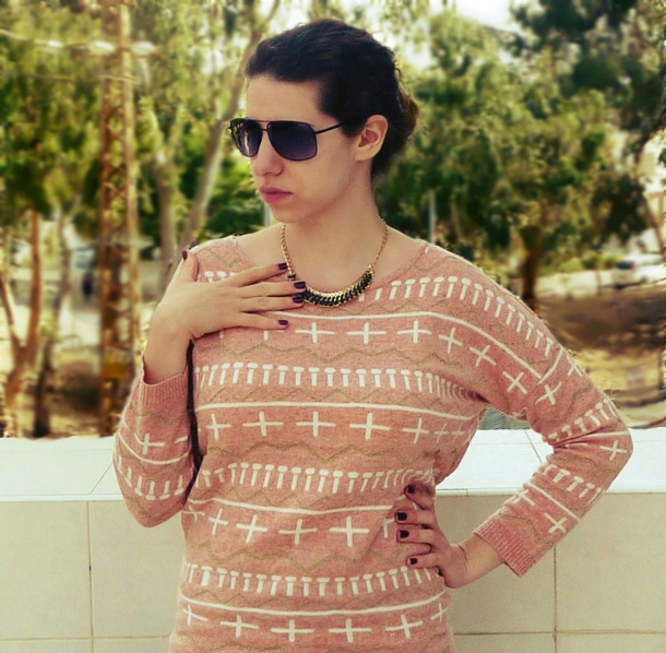 me wearing a peach cross-pattern sweater from chicwish