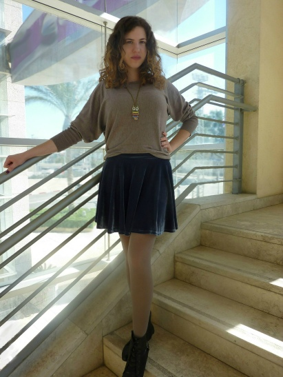 standing on the stairs with velvet skirt