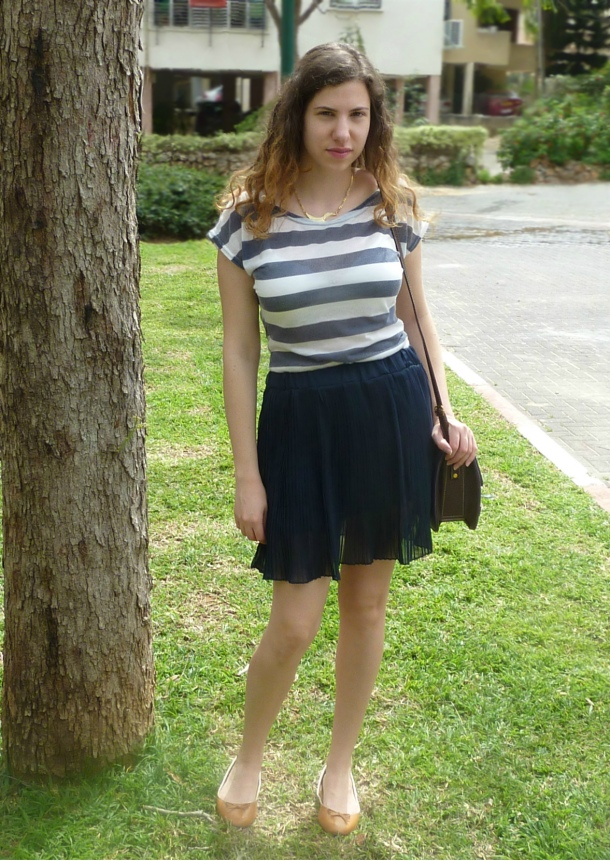 Blue pleated skirt and sailor striped top