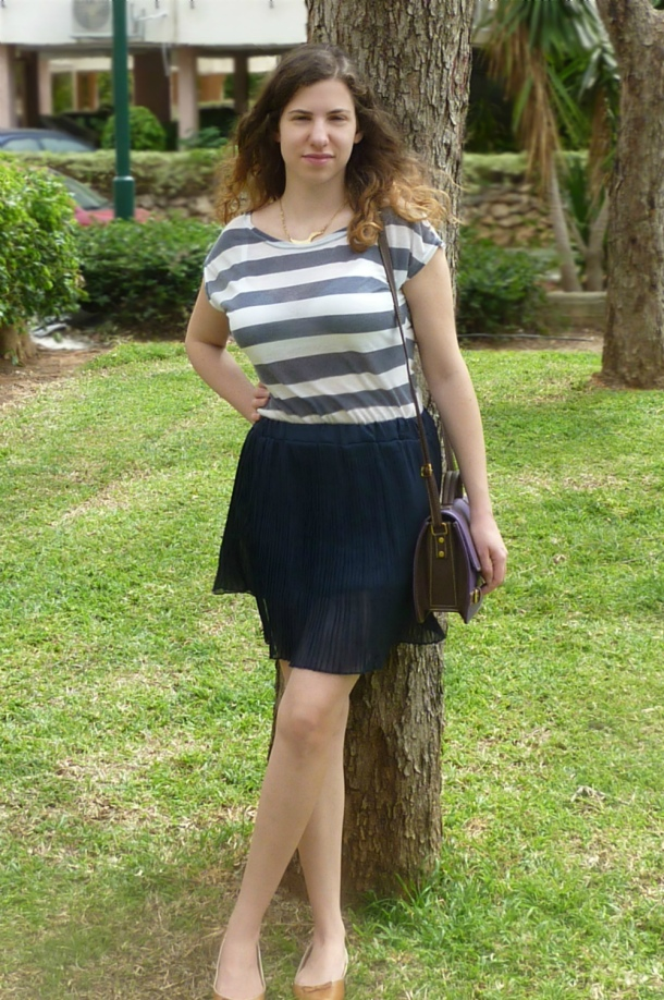 Blue pleated skirt and sailor striped top2