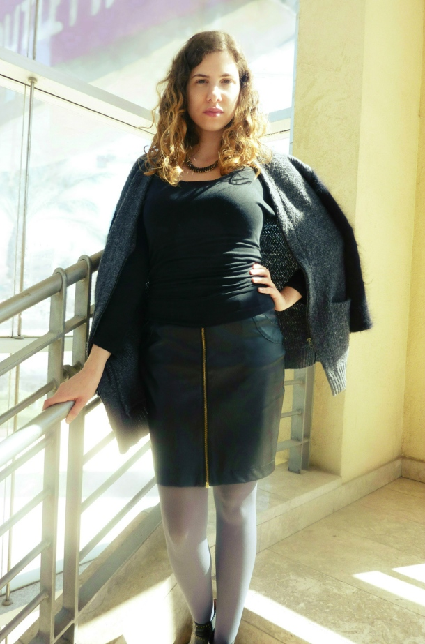 faux leather skirt and two tone H&M sweater