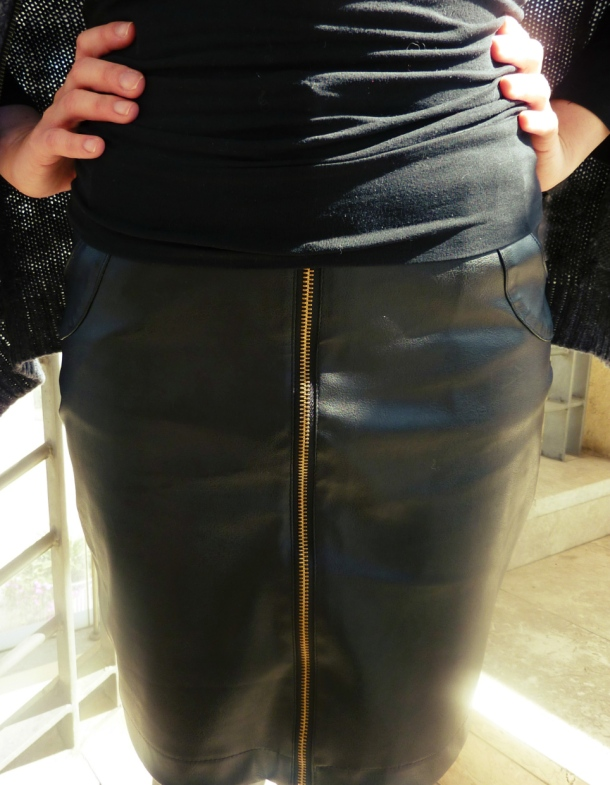 faux leather skirt closeup