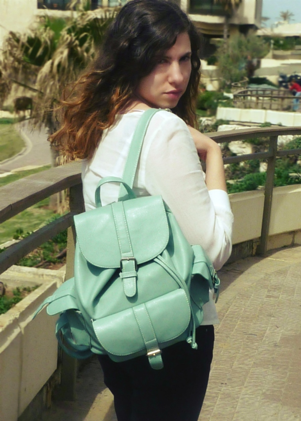 H&M white top and Romwe mint backpack