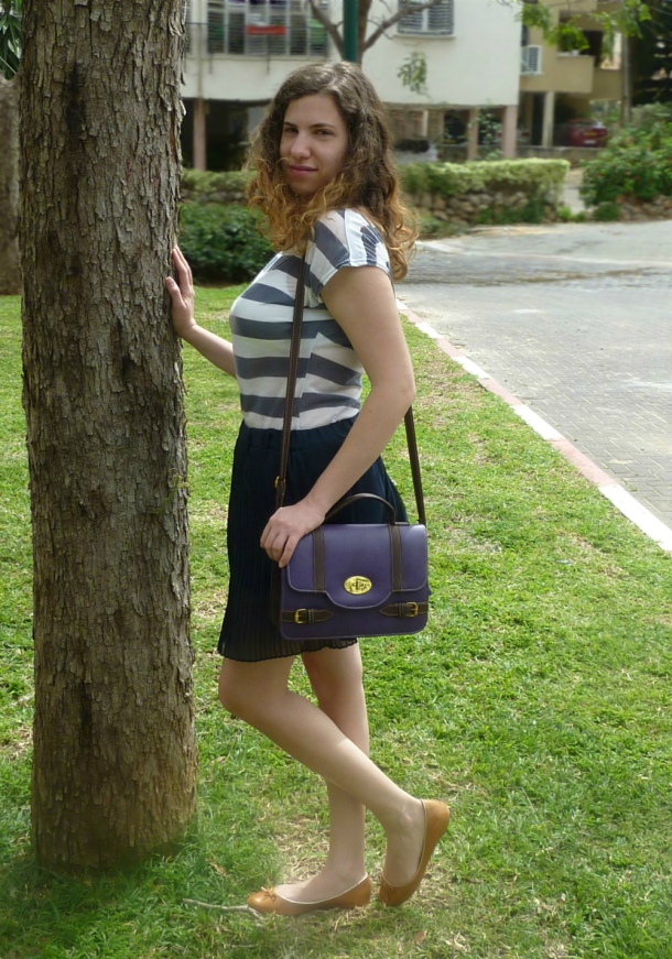 Sailor stripes top and purple satchel