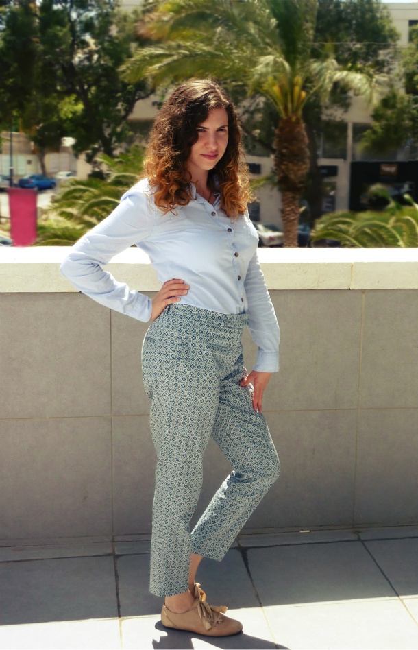H&M print pants and light-blue blouse