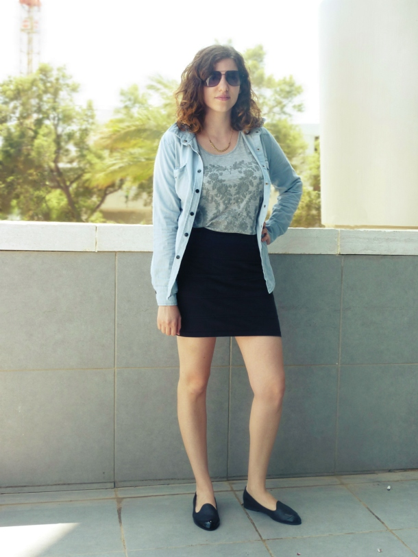 Black mini skirt and Romwe denim top
