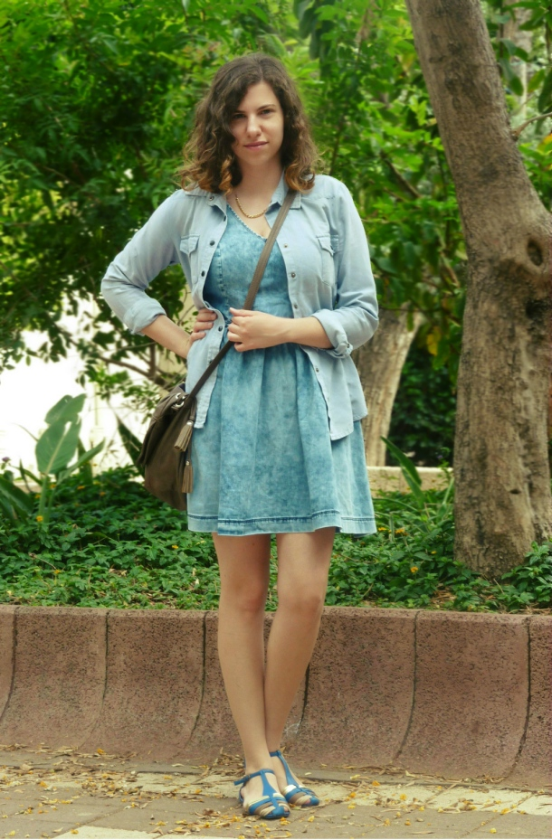 Denim dress and Romwe denim shirt