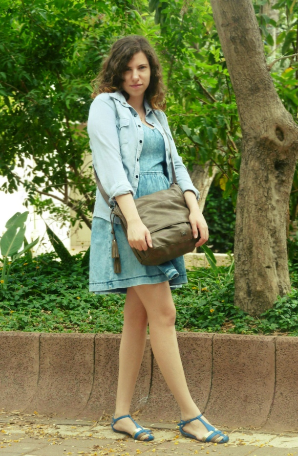 Denim dress denim shirt and MNG crossbody bag
