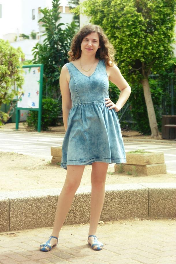 Short Denim Dres with Blue&Gold Sandals