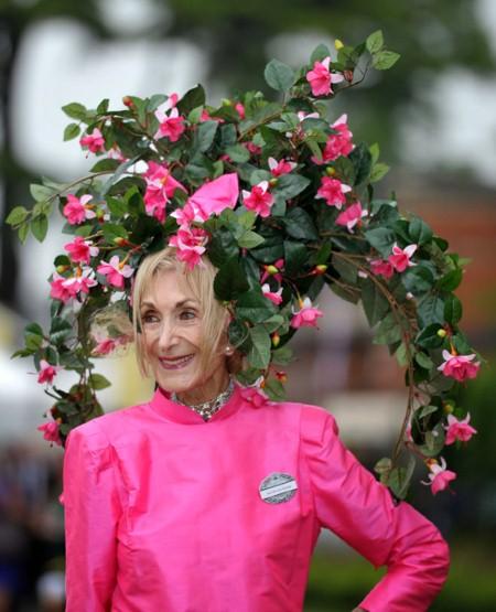 Florance Calridge wearing a hat full of flowers